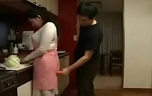 Japanese Milf and Young Dear brat less Kitchen Fun