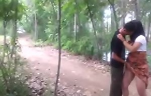 Chinese maid got unchanging fuck in the forest