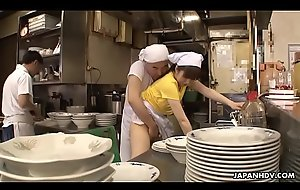 Japanese waitress Mimi Asuka gets finger fucked in the eatery