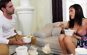 Asian brunette sucks unearth after her lavish dinner