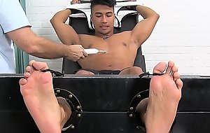 Bulky Asians feet and chest punished by deviant tickler