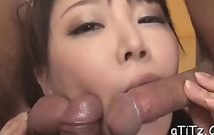 Japanese chick with hot tits thrills with oral-sex and titty fuck