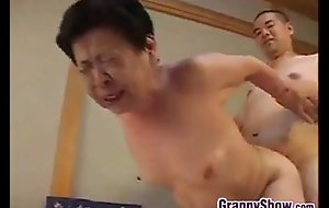 Japanese grandma giving a great oral-sex job sex job