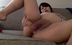 Pregnant Horny Asian Japanese Fuck Dildo and Squirt