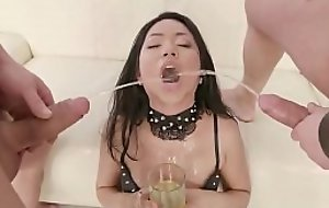 Extreme asian girl hit the bottle piss