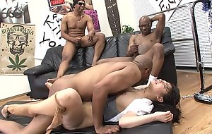 Team a few black living souls destroy the Oriental sluts pussy