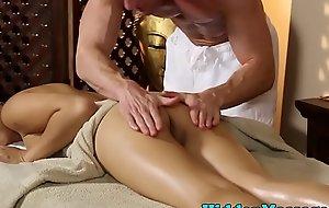 Smalltits asian babe banged via massage