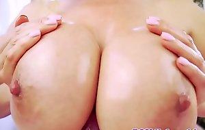 Titfucked asian milf sucking cock in pov